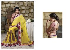 Sensational heavy work blouse piece with yellow color georgette material saree looks splendid border patta & resham work...