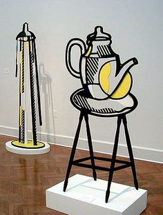 View of sculptures in the exhibition: Lamp II, 1977 and Teapot on Stand, 1977.