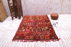 Red Vintage Moroccan 6.1 ft x 8.7 ft Authentic moroccan handmade carpet