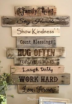 Family/Family Rules Sign/Wood Sign/Wall Decor/Farmhouse Decor/Country Home Decor/Handmade/Rustic Decor/Reclaimed Wood/Gift/Housewarming #affiliate
