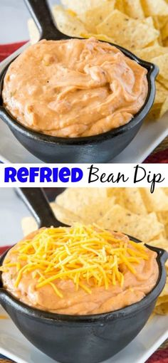 Easy Refried Bean Dip - this easy bean dip is super creamy, cheesy, and full of . Easy Refried Bean Dip – this easy bean dip is super creamy, cheesy, and full of taco flavors. Meat Appetizers, Appetizer Dips, Appetizer Recipes, Dinner Recipes, Easy Homemade Salsa, Homemade Guacamole, Refried Bean Dip, Refried Beans, Sauce Spaghetti