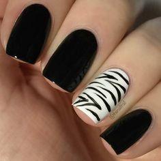 Black Nails + Zebra Accent Nail