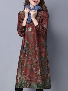 Floral Printed Retro Style Elegant Loose Long Sleeve Women Dress