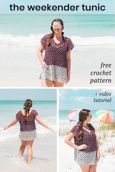 Crochet this easy beach cover up weekender color-block tunic with my free pattern and video tutorial! #crochet #crochettop #tunic #beginner #diy #freepattern
