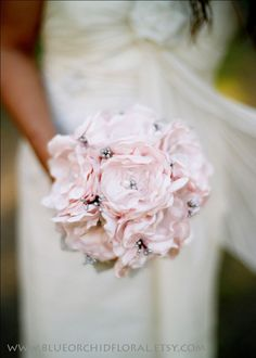Bridal Bouquet Pink & Grey Wedding by BlueOrchidBridal on Etsy. Gorgeous example of Faux Flowers