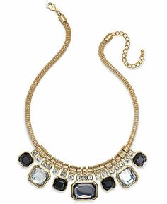 Charter Club Gold-Tone Jet Stone Frontal Necklace - Fashion Necklaces - Jewelry & Watches - Macy's
