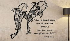 Koi Fish Wall Decal CONFUCIUS QUOTE Sticker Art Decor Bedroom Design Mural fishVersion 102 Vinyl goodluck home decor motivation good vibes Bedroom Wall Designs, Bedroom Murals, Bedroom Decor, Bedroom Ideas, Wall Decal Sticker, Vinyl Decals, Wall Vinyl, Flower Wall Decals, Fishing Quotes