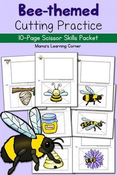 Bee Cutting Practice Worksheets - fun way to practice scissor skills!