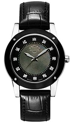 HarleyDavidson Womens Bulova Wrist 16 diamonds and domed Crystals Watch 78R100 ** Learn more by visiting the image link.Note:It is affiliate link to Amazon. #WomensWatches