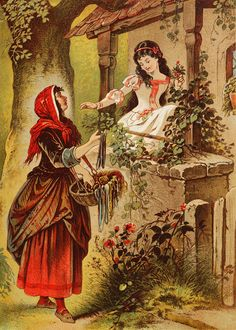 The Queen in disguise, offering a poisoned apple to Snow White (a late 19th-century German illustration) Snow White, illustration by Heinrich Leutemann or Carl Offterdinger
