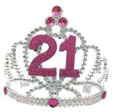 """ Happy 21st Birthday "" Tiara Headband Crown Pink Glitter Metal Party | eBay $10.69 + $10.74"