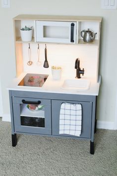 Ikea mini Kitchen makeover. Ikea hack DIY. IKEA play kitchen makeover @hgtv