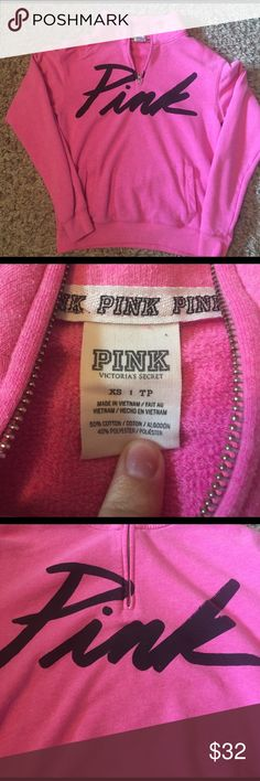 Pink by Victoria's Secret half zip pullover Pink by Victoria's Secret half zip pullover hoodie. In the color bright pink with black writing, size xs. Slight piling but overall in fantastic condition! PINK Victoria's Secret Tops Sweatshirts & Hoodies