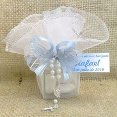 Lembrancinha de Batizado Caixa de Vidro com Amêndoas e Tercinho $6.90