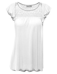 63a5b6553abaca Rayon: Doublju Womens Round Neck Ruffle Cap Sleeve Loose Fit Top With Lace  Detail, White