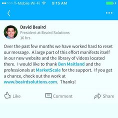 BIG shoutout from our partner David Beaird President of Beaird Solutions  an industry leader in supply chain optimization. We at @marketscale pride ourselves in providing our partners with an amazing service experience. #marketing #contentmarketing #strategy #marketscale #mondaymotivation