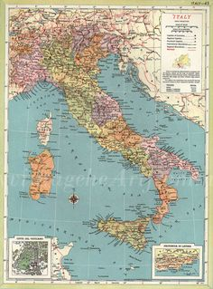 Vintage map of Italy found at VintageInclination on Etsy.