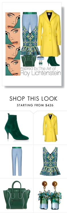 """""""Roy Lichtenstein: Pop Artist"""" by susan0219 ❤ liked on Polyvore featuring Pierre Hardy, Moschino Cheap & Chic, Racil, Peter Pilotto, CÉLINE and Forever 21"""