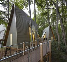 Image 5 of 15 from gallery of Camp Graham / Weinstein Friedlein Architects. Photograph by Mark Herboth Photography LLC A Frame Cabin, A Frame House, Bungalow, Tyni House, Cabins In The Woods, Modern Architecture, Graham, Cottage, House Styles