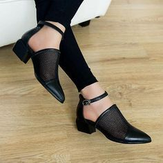 Chic Womens Ankle Strap Chunky Low Heels Pointed Toe Shoes Mesh Hollow sandals