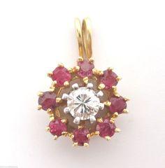 Estate Vintage 0.40CT Fine Round Ruby & Diamond Pendant 14K Yellow Gold  #Handmade #Pendant