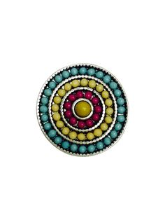 Turquoise Yellow and Pink Clay Bead Circle Popper