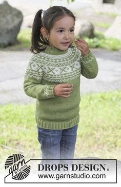 """Starshine - Knitted DROPS jumper worked top down in """"Karisma"""" or """"Merino Extra Fine"""" with round yoke and Norwegian pattern. - Free pattern by DROPS Design Baby Sweater Knitting Pattern, Fair Isle Knitting Patterns, Knitting Machine Patterns, Jumper Patterns, Knitting Sweaters, Drops Design, Knitting For Kids, Baby Knitting, Crochet Baby"""