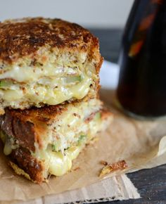 Crispy zucchini grilled cheese with Dijon horseradish aioli. Not your typical grilled cheese sandwich. Think Food, I Love Food, Good Food, Yummy Food, Tasty, Great Recipes, Favorite Recipes, Vegetarian Recipes, Cooking Recipes