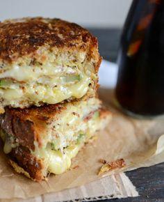 Crispy Zucchini Grilled Cheese with Dijon Horseradish Aioli.