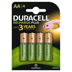 Was £8.06 > Now £4.79.  Save 41% off Duracell 1300mAh AA Size Rechargeable Batteries--Pack of 4 #46, #Accessories, #DealScore5OutOf5, #Electronics, #HouseholdBatteriesChargers, #LowestEver, #RechargeableBatteries, #Under5