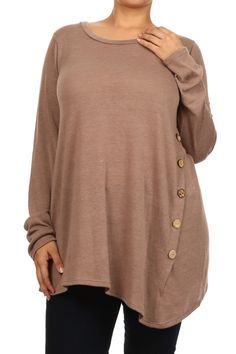 Blondellamy'Dean  - A Curvy Girl's Boutique / Plus Size Womens Clothing / Plus Size Clothing / Plus Size Clothing For Women - Mocha Button Top 3x, $36 (http://www.blondellamydean.com/mocha-button-top-3x/)