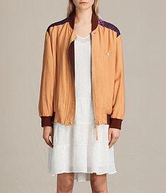 Women's Cleo Reversible Bomber Jacket (Orange) -
