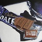 Delicious Diva by April Jarocka - Painting of Cadburys Dairy Milk 110 chocolate paintings by April Jarocka Original is framed and available See wwwa. Chibi Food, Food Artists, Food Drawing, Drawing Tips, Food Painting, Irish Art, Expressive Art, Art Courses, A Level Art