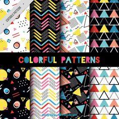 Collection of memphis pattern Free Vector Memphis Design, Memphis Art, Memphis Milano, Textile Patterns, Textile Design, Print Patterns, Shape Design, Art Design, Graphic Design