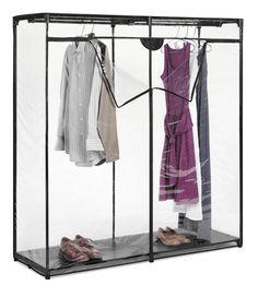 Heavy Clothes Portable Closet Storage Rack Clear Cover Wardrobe Garment New Closet Rod, Closet Storage, Bedroom Storage, Closet Racks, Storage Rack, Extra Storage, Storage Ideas, Basement Storage, Attic Storage