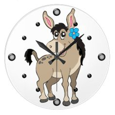 Cute Donkey with Flower Wall Clock