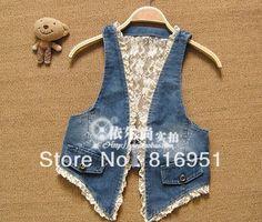 jeans jacket summer new arrival halter denim jacket lace patchwork ...
