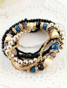 Gold Multilayer Bead Elastic Bracelet - Sheinside.com