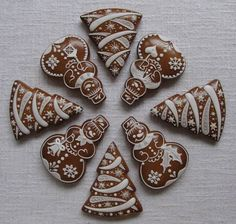 Today we are looking at Moravian and Bohemian gingerbread designs from the Czech Republic. Back home, gingerbread is eaten year round and beautifully decorated cookies are given on all occasions. Christmas Sweets, Christmas Gingerbread, Christmas Cooking, Christmas Goodies, Gingerbread Cookies, Gingerbread Houses, Crazy Cookies, Fancy Cookies, Holiday Cookies
