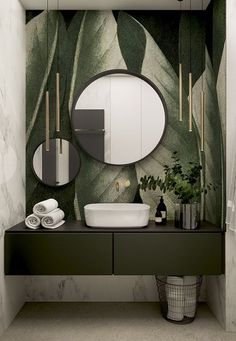 Stylish apartment for a young couple in Krakow - Dezign Ark (Beta) Badezimmer Bathroom Interior Design, Interior Decorating, Interior Design Wallpaper, Modern Bathroom, Bathroom Green, Small Bathroom, Bathroom Ideas, Tropical Bathroom Decor, Jungle Bathroom
