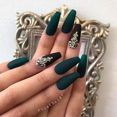 Sexy Dark Nails Art ✿ Include Acrylic Nails, Matte Nails, Stiletto Nails - Page 6 Coffin Nails Matte, Dark Nails, 3d Nails, Dark Green Nails, Long Nails, Dark Color Nails, Short Nails, Mat Black Nails, Dark Nail Art