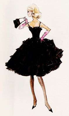 "Design sketch for Barbie fashion ""Black Enchantment"" by Robert Best"