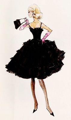 "Design Sketch for Barbie fashion ""Black Enchantment"" by Robert Best"