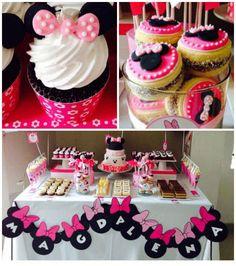 Minnie Mouse themed birthday party via Kara's Party Ideas KarasPartyIdeas.com Cake, printables, decor, cupcakes, tutiorials, recipes, and more! #minniemouse #minniemouseparty #mickeymouse #karaspartyideas (2)