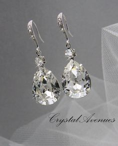 Bridal Earrings Crystal Bridal earrings Wedding por CrystalAvenues