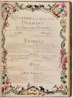 """[#archive] """"un des plus anciens #menus connus dans le #monde dessiné en 1751 par Brain de Sainte-Marie pour #LouisXV"""" #histoire #gastronomie #XVIII #siècle #cour #bourgeois #festin #révolution #art #recevoir —"""