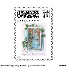 Winter Cottage Holly Winterberry Snow Walk Stamp