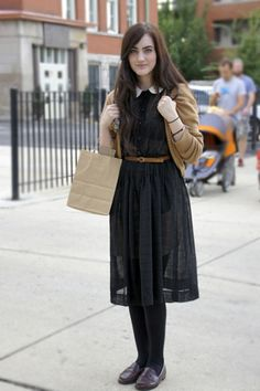 Peter pan collar black sheer dress. Love.