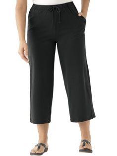 Ulla Popken Women's Plus Size Stretch Knit Drawstring Cropped Pants Plus Size Womens Clothing, Clothes For Women, Plus Size Workout, Wide Leg Cropped Pants, Trendy Collection, Elastic Waist, Capri Pants, Sport, Stylish