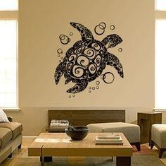 Sea Turtle Decal - I like the woodblock design